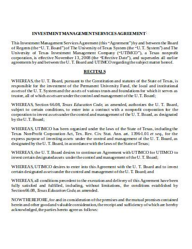 investment management services agreement