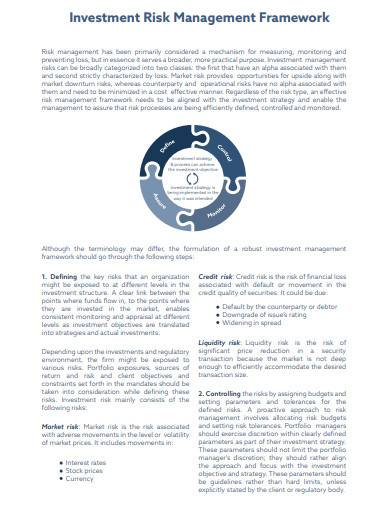 investment risk management framework