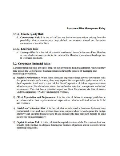 investment risk management policy