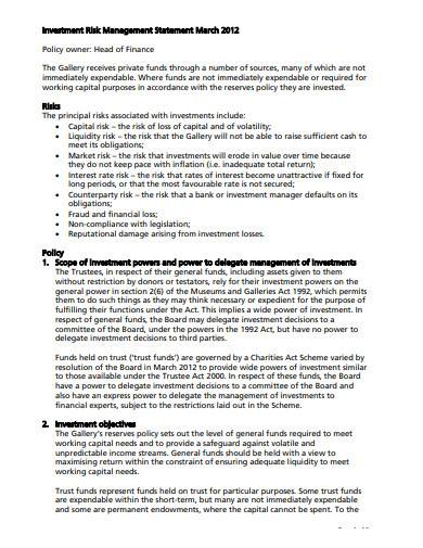investment risk management statement