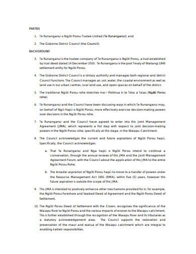 joint management agreement example