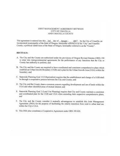joint management agreement template