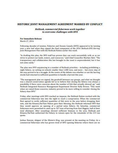 joint management agreement in pdf