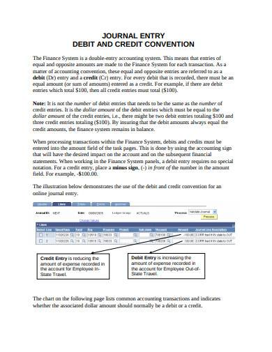journal entry debit and credit convention