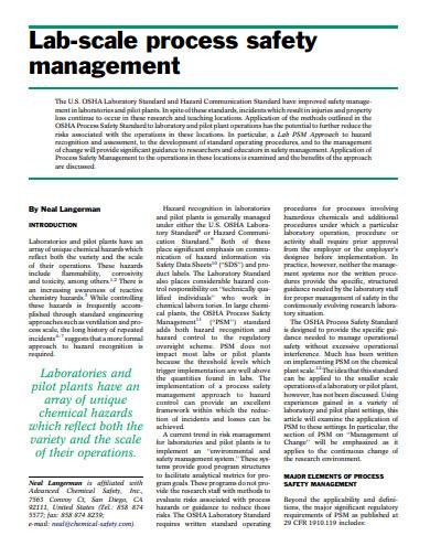 lab scale process safety management
