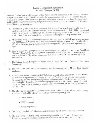 labor management agreement sample