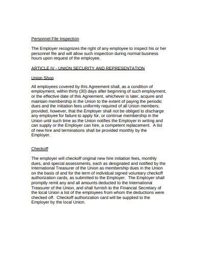 labor management agreement in pdf