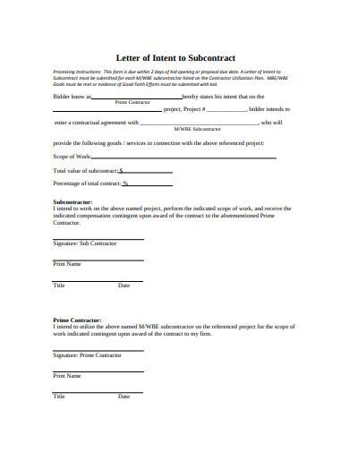 letter of intent to subcontract template