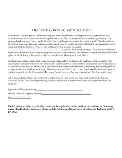 licensed contractor disclaimer