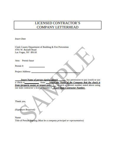 licensed contractors company letterhead
