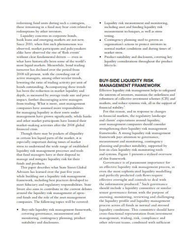 liquidity risk management framework