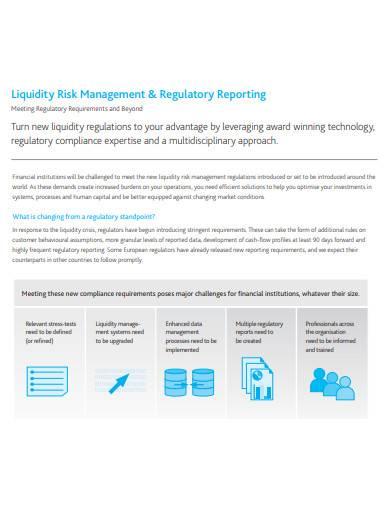 liquidity risk management and regulatory reporting
