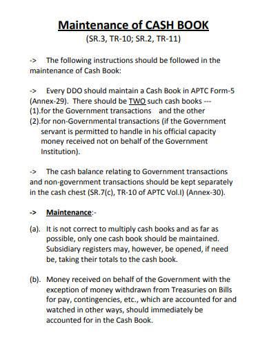 maintenance cash book