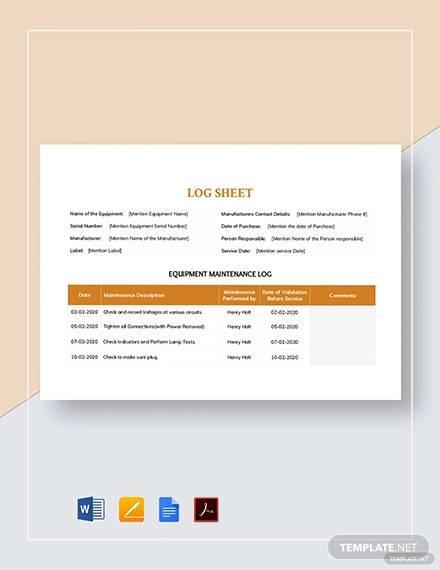maintenance log sheet template