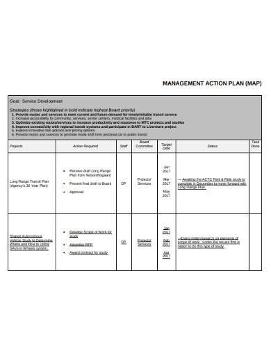 management action plan
