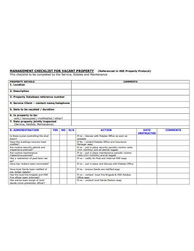 management checklist for vacant property