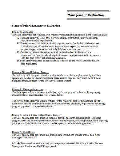 management evaluation