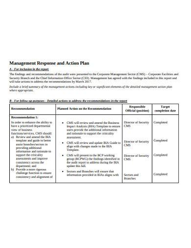 management response and action plan
