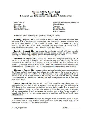 management weekly report in doc