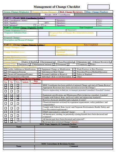 management of change checklist