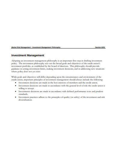 market risk investment management