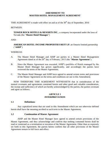 master hotel management agreement sample