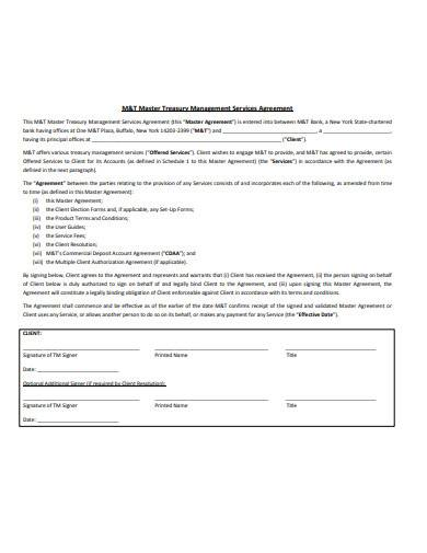 master treasury management services agreement