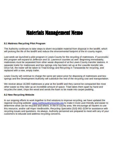 materials management memo