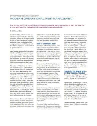 modern operational risk management sample