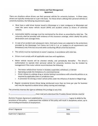 motor vehicle and fleet management agreement
