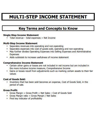 multi step income statement teplate