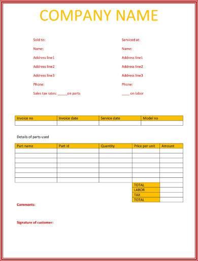 multicolored repair service invoice sample