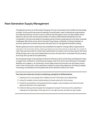 next generation supply management