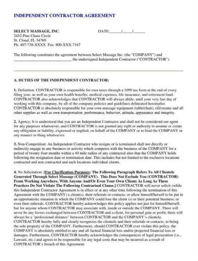 non compete independent contractor agreement sample