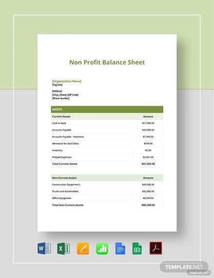 non profit balance sheet template