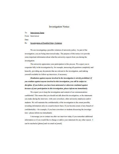 notice of investigation letter template