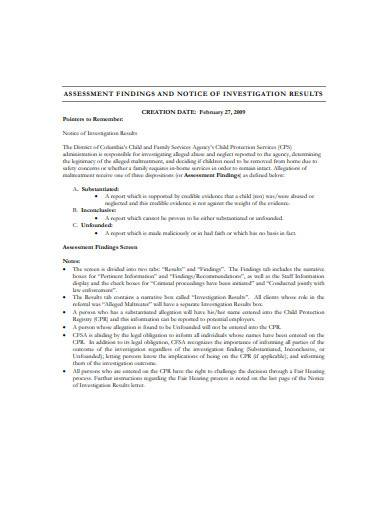 notice of investigation results sample