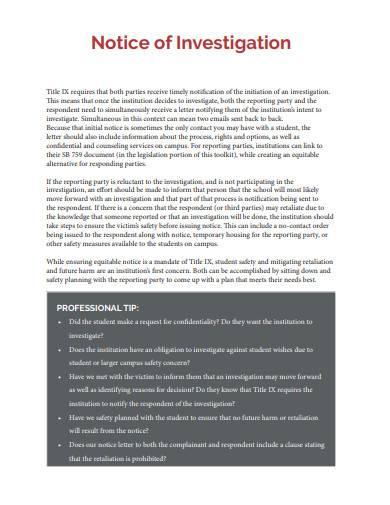 notice of investigation sample