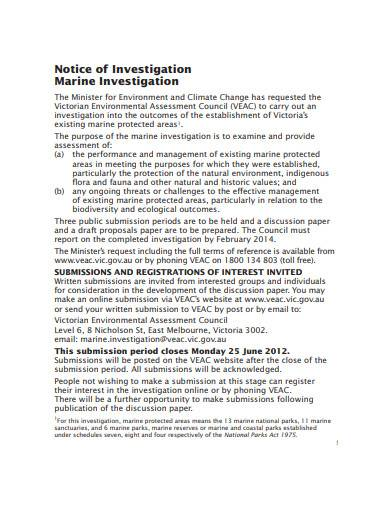 notice of investigation template