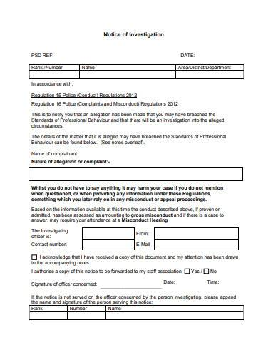 notice of investigation in pdf