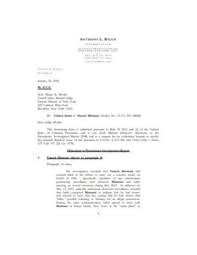 objections to presentence investigation report template