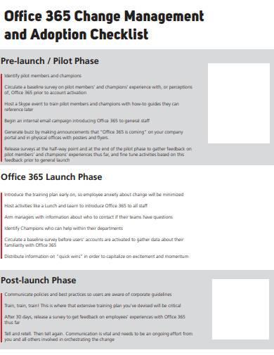 office change management and adoption checklist
