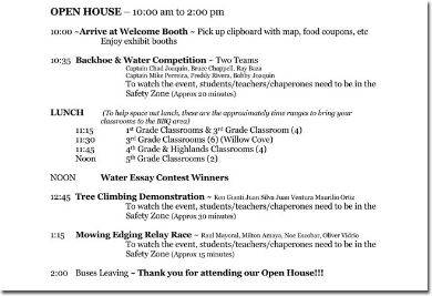 open house party itinerary
