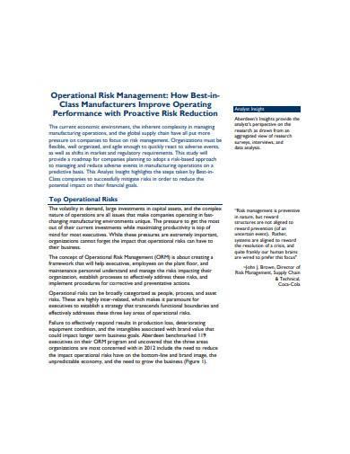 operational risk management sample