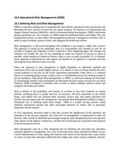 operational risk management template