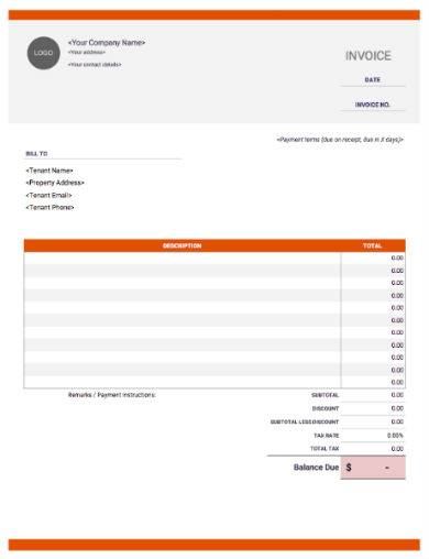 orange property rent invoice sample