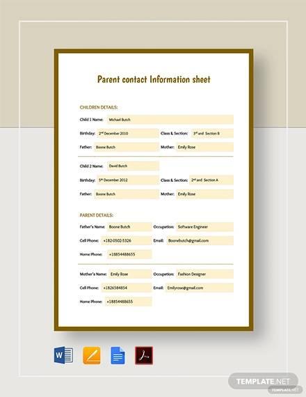 parent contact information sheet template