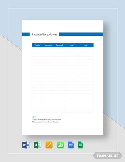 password spreadsheet template