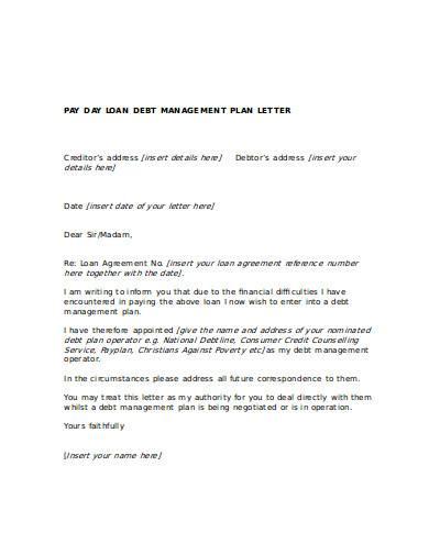 pay loan debt management plan letter