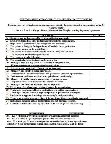 performance management evaluation questionnaire sample